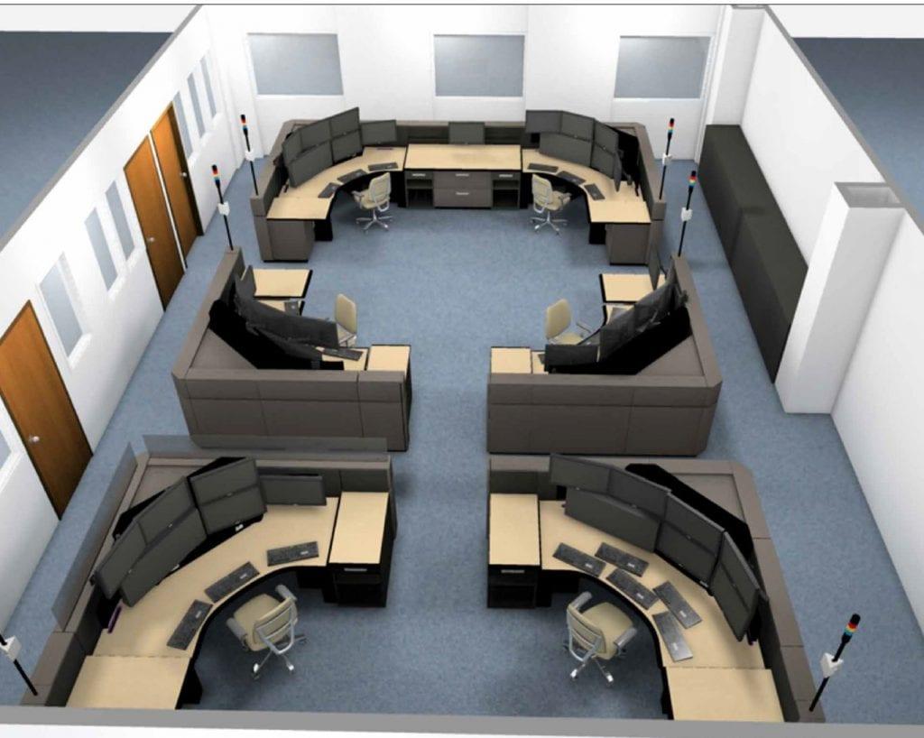 Blue Earth County Dispatch 911 Console-Floorplan