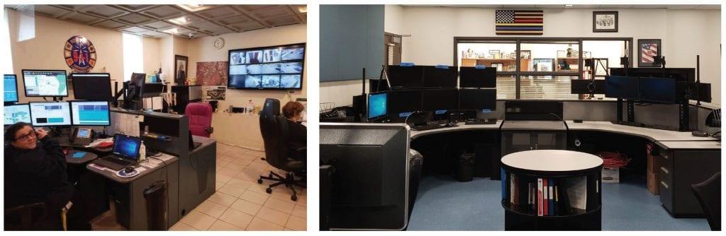Newtown ECC dispatch consoles before and after
